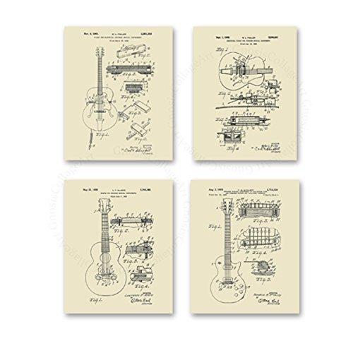 - Vintage Guitar Posters Set of 4 Unframed 8x10