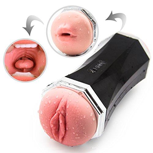 New Male Masturbation Cup,Oral Pocket Pussy Realistic Vagina and Mouth with Teeth and Tongue Handhold Masturbator Blow Job Sucking Stroker
