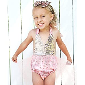 Noah's Boytique Baby Girls Vintage Inspired Sequin Rosebud Floral Tutu Romper and Halter Tie Top and Matching Sequin Headband 6-12 Months