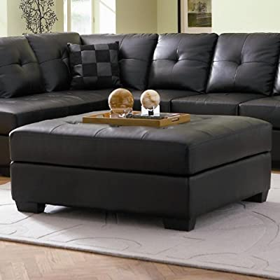 Coaster Ottoman with Button Tufted Cushion in Black Leatherette
