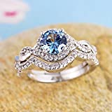 Women Charm 925 Silver Round Cut Aquamarine Bridal Ring Set Wedding Jewelry (7)