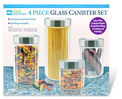 Home Expressions 4 Piece Assorted Sizes XS/S/M/L Round Glass Canister Set with Stainless Steal Lid