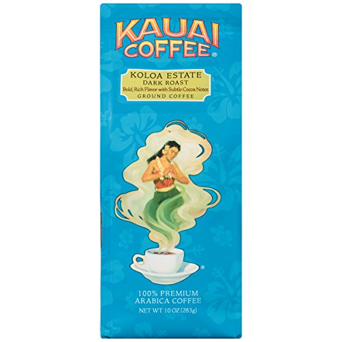 (100% Kauai Ground Coffee, Koloa Estate Dark Roast-100% Premium Ground Arabica Coffee from Hawaii's Largest Coffee Grower-Bold, Rich Flavor with Nutty Notes and Sweet Chocolate Overtones (10 Ounces))