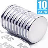 """10pack Strong Neodymium Disc Magnets with Double-Sided Adhesive, Powerful Permanent Rare Earth Magnets, Fridge, DIY, Building, Scientific, Craft, Office Magnets, 1.26"""" D x 1/8"""" H"""