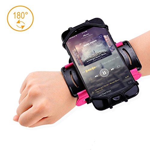 Phone Wristband,Running Phone Holder for iPhone X 7 8 Plus 7 6S Plus 6S Samsung Galaxy S8 Plus S8 S7 Edge,180º Rotatable Sport Wristband Workout Forearm Phone Holder Hiking Jogging-Pink