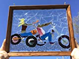 Motorcycle Biker Couple Gift Stained Glass Window Art Suncatcher