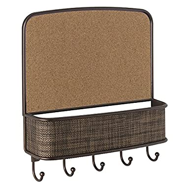InterDesign Twillo Cork Board with Mail & Key Organizer for Kitchen, Hallway, Entryway - Wall Mount, Bronze