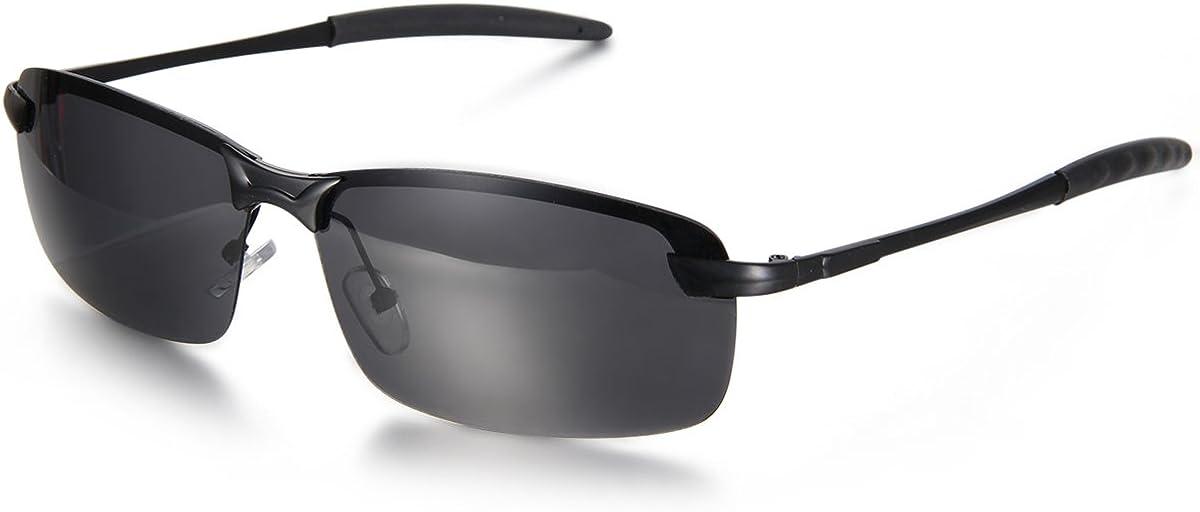 Aroncent Gafa de Sol Polarizada UV400 Semi-Marco Lente de Resina de Moda Protección de Ojos para Carreras, Viaje, Conducción, Golf, y Actividades Exteriores para Hombre Mujer Unisex – 2PCS
