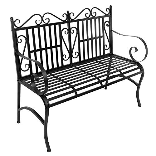 Matladin Foldable Metal Antique Garden Bench Outdoor Double Seat, Folding Outdoor Patio Chair, Park Yard Bench with Decorative Cast Iron Backrest,Decorative Outdoor Garden Seating