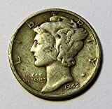 #10: 1916 - 1945 90% Silver Mercury Dimes Circulated (Mixed Dates and Mint Marks) .10c Dime Circulated