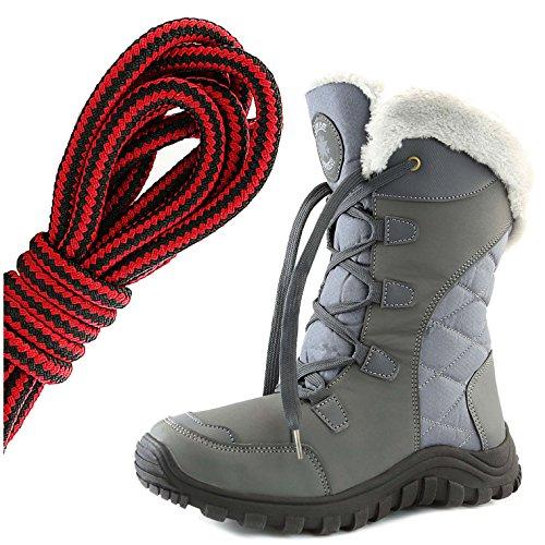 Dailyshoes Donna Comfort Punta Rotonda Metà Polpaccio Escursionismo Esterno Alla Caviglia Alta Eskimo Inverno Pelliccia Stivali Da Neve, Nero Rosso Spazio Grigio