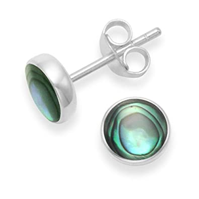 515b659c9 Sterling Silver Paua Shell Earrings - 7mm round Paua Shell stud Earrings  with flat solid silver back. Gift boxed 5798PS: Amazon.co.uk: Jewellery