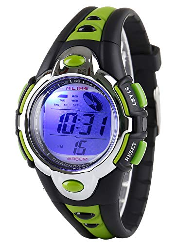 Kid Watch Multi Function Digital LED Sport 50M Waterproof Electronic Digital Outdoor Watches Alarm for Boy Girl Children Gift (Green)