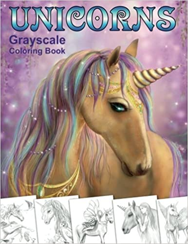 Unicorns Grayscale Coloring Book Coloring Book For Adults Alena