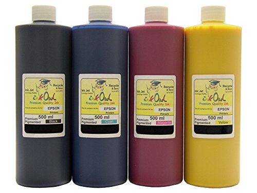 4x500ml InkOwl Premium Pigmented ink for EPSON printers using Durabrite ink - Made in the USA