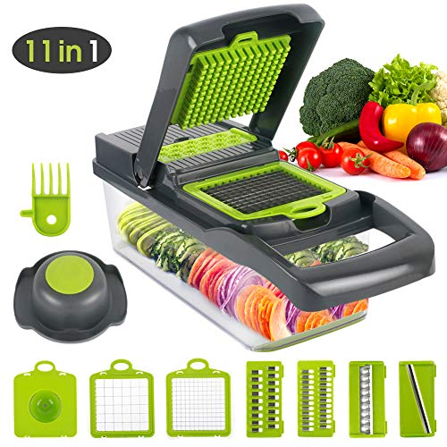 Vegetable Chopper Slicer, Food Chopper Lopetve Onion Dicer Veggie Slicer Cutter With Multi-Functional Interchangeable Blades Cheese Grater For Garlic Carrot Potato Tomato Fruit Salad