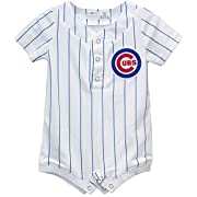 OuterStuff Chicago Cubs Home Newborn Cool Base Romper (White, 0-3 Months)