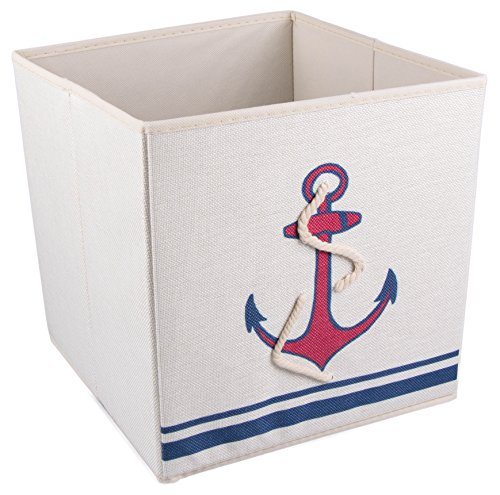 Red and Blue Mariner's Anchor Cross Collapsible Storage Box and Closet Organizer with Nautical Rope (Storage Box Ocean)
