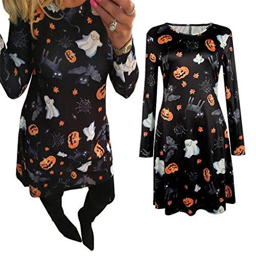 Women Dress,Haoricu Women Halloween Pumpkin Skull Print Long Sleeve Party Swing Mini Dress (XL, (Halloween Dresses For Women)