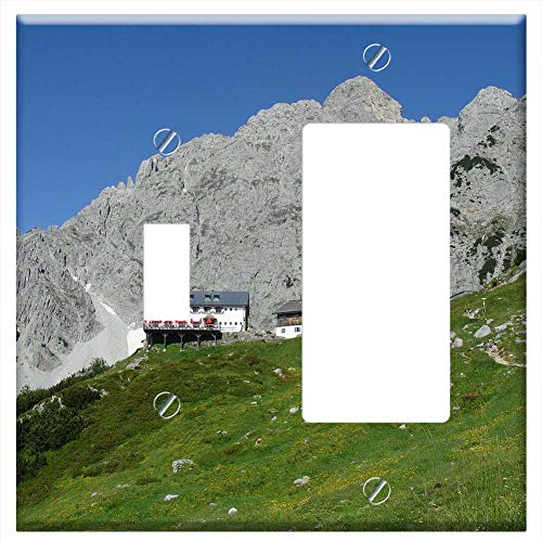 1-Toggle 1-Rocker/GFCI Combination Wall Plate Cover - Germany Mountains Rocks Rocky Sky Clouds Hut