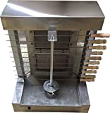 Tacos Al Pastor Gas Doner Kebab Machine - 2 Gas Burners Shawarma Grill Gyros Automatic Vertical Broiler With 10 Kebab Skewers
