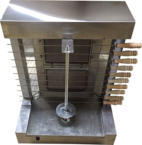 Tacos Al Pastor Gas Doner Kebab Machine - 2 Gas Burners Shawarma Grill Gyros Automatic Vertical Broiler With 10 Kebab Skewers by Bioexcel
