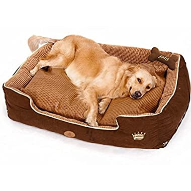 PLS Thermo Bolster Dog Bed with Pillow and Removable Cover with Zipper, Large