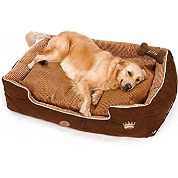 PLS Birdsong Paradise Bolster Dog Bed for Large Dogs with Pillow