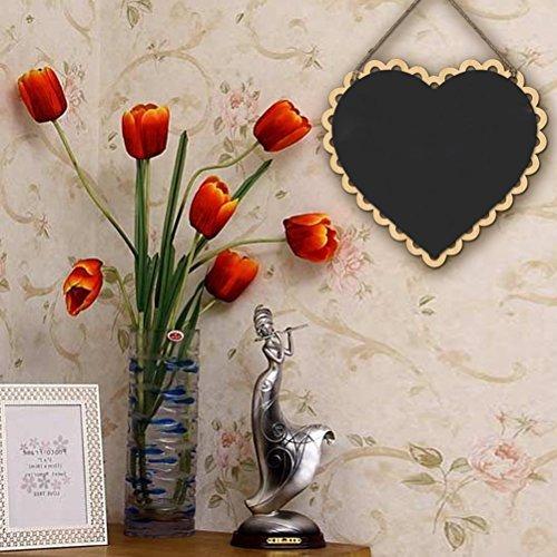 Tinksky Hanging Wooden Blackboard Wordpad Message Board - Heart (Shaped Chalk)
