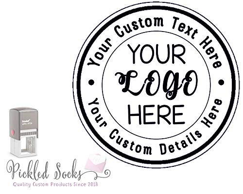 - Custom Business Logo Double Round Border Stamp - 3 Lines of Text - Self Inking Stamper - Rubber Personalized Stamp - Stamps for Local Business - Personalized Business Stamps (Black)