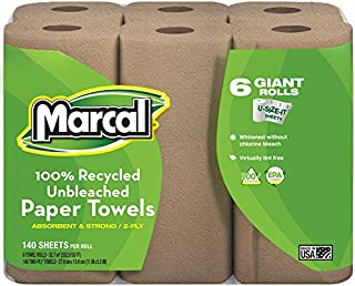 product image for Marcal 2-Ply U-Size-It 100% Recycled Paper Towels, Natural Color, 140 Sheets Per Roll, 24 Paper Towel Rolls
