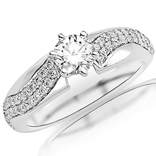 14K White Gold 1.1 CTW Two Rows Of Pave-set Round Diamond Engagement Ring w/0.80 Ct Round Cut H Color VS2 Clarity Center ()