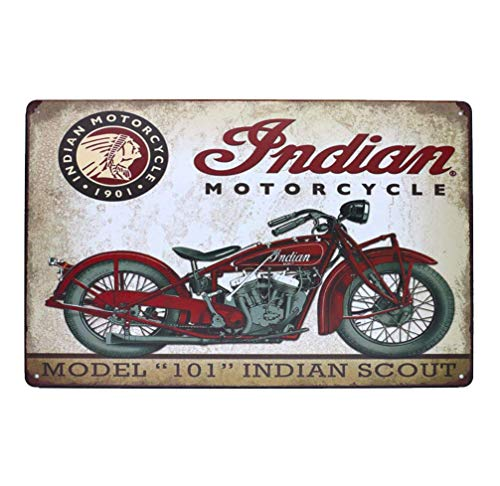 PEI's Retro Tin Metal Sign, Indian Motorcycle, 8x12 inch (Model 101)