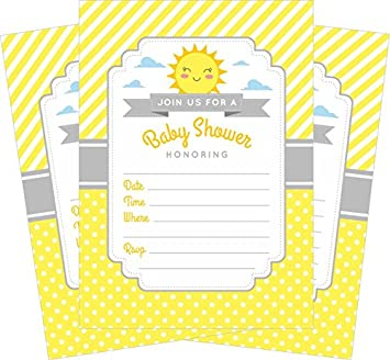 Amazon yellow gray sunshine 5x7 baby shower invitations 24 ct yellow gray sunshine 5x7 baby shower invitations 24 ct and white envelopes filmwisefo