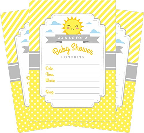 (Yellow Gray Sunshine 5x7 Baby Shower Invitations (24 ct) and White Envelopes)
