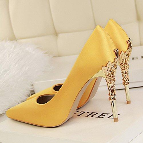 XiaoGao Nuevos zapatos de mujer con 10 centímetros de super tacones y zapatos,Amarillo