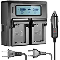 Neewer LCD Battery Charger for Sony NP-FW50 Batteries Compatible With Sony NEX-3 NEX-5 NEX-6 NEX-7 NEX-C3 NEX-F3 SLT-A33 SLT-A37 SLT-A55(US Plug + EU Plug + Car Charger Adapter)