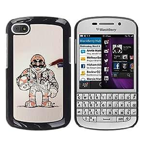 GOODTHINGS Funda Imagen Diseño Carcasa Tapa Trasera Negro Cover Skin Case para BlackBerry Q10 - carácter estupendo juego de consola retro