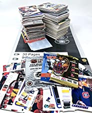 100 Hockey Trading Cards with 3 Factory Sealed Packs and 30 Card Protector Pages