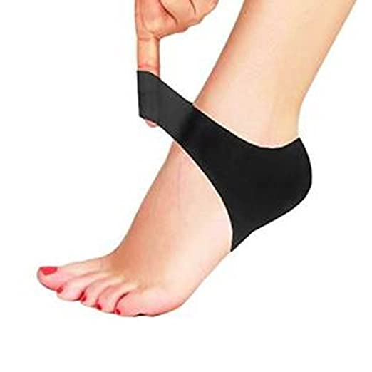 Plantar Fasciitis Heel Cushion Protector - Shock Absorbing Silicone Protective Heel and Arch Breathable Air Support Sleeve to Relieve Plantar Fasciitis, Cracked Heels and Sore Feet