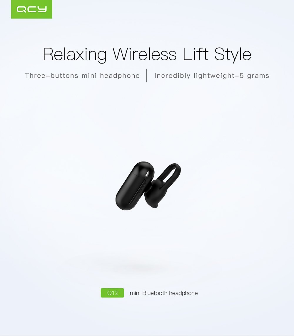 Mini auriculares Bluetooth, KOLARK QCY Q12 V4.1 Inalámbrico Mini Invisible Car Headset Single In Ear Auricular con cancelación de ruido Mic para iPhone 8 ...