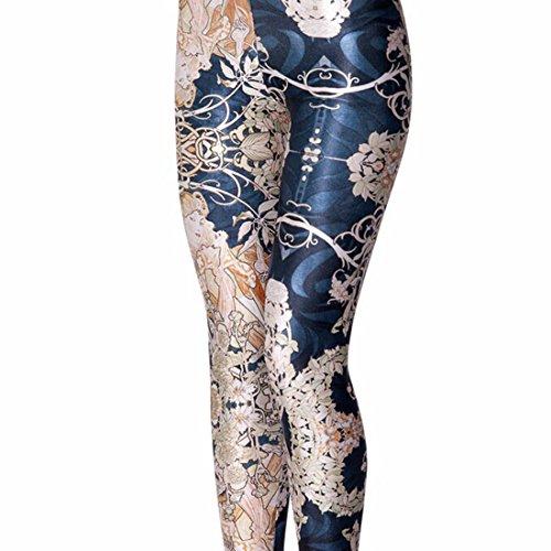 Women's 3D Vintage Flower Printed Punk Rock Full Length Leggings Blue