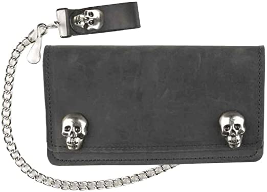 Handmade Leather Wallet Chain With Nickel Clips Skull