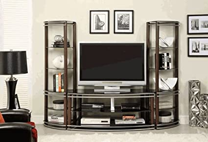 Amazon.com: Contemporary Black Tempered Glass 2 Pier Brown and ...
