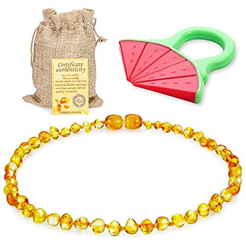Sweetie House Raw Baltic Amber Teething Necklace for Babies - (Honey) Anti-Flammatory, Drooling & Teething Pain Reduce Properties & Natural Certificated Oval Baltic Jewelry for Christmas¡