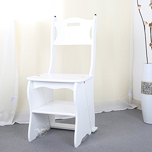 Barstools ZHANGRONG- Simple Home Folding Chairs Dual Use Solid Wood Step Stool Indoor Four Steps Ladder Chair Multifunction Staircase Stool Pine Move Step Stool (Color : White, Size : 4 (Honey Pine Baby Furniture)