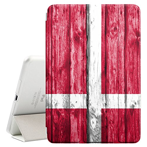 (FJCases Denmark Danish Wood Pattern Flag Smart Cover Stand + Back Case with Auto Sleep/Wake Function for Apple iPad Mini 5)
