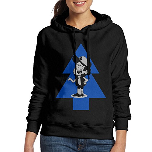 Mabel And Dipper Costume (FALKING Women's Funny Cotton Cute Cartoon In The Pine Pullover Sweatshirt L Black)