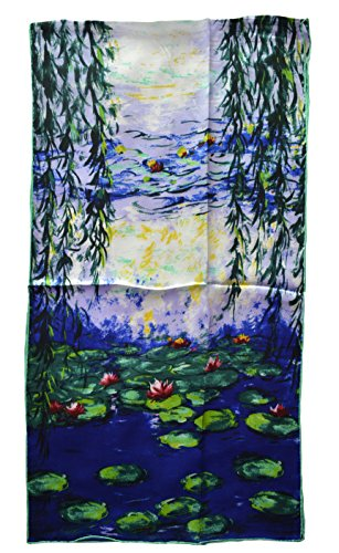 , Van Gogh and Claude Monets Paintings Fashion Silk Scarf Premium Shawl Wrap Art ()