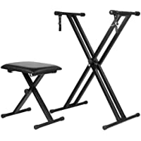 OZSTOCK Adjustable Keyboard Stand Portable with Piano Stool Seat Folding Bench Chair Piano Stand Stool Set